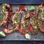 Beautiful Grilled Lobster with Cilantro Chile Butter Recipe